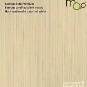Bamboo Elite Premium Hochkantlamelle naturhell White – Moso Bambus Landhausdielen - geschliffen, weiß eingefärbt lackiert + vorgeölt mit Klick-System - NaBo Parkett Bambusboden Leipzig