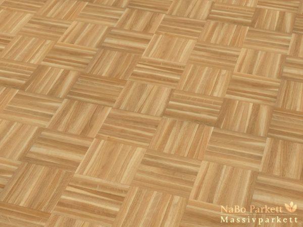 Mosaikparkett Eiche Sortierung Gestreift - Würfel Verband - Massivparkett 8mm als Musterboden