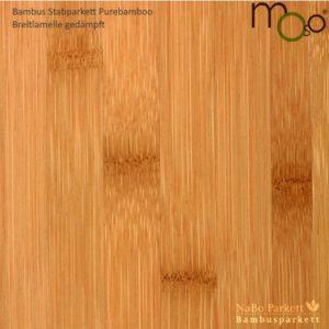 Bambus Stabparkett Breitlamelle gedämpft – Moso purebamboo - geschliffen, lackiert - NaBo Parkett Bambusboden Leipzig