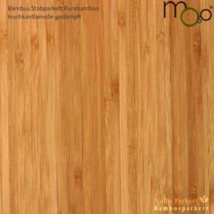 Bambus Stabparkett Hochkantlamelle gedämpft – Moso purebamboo - geschliffen, lackiert - NaBo Parkett Bambusboden Leipzig