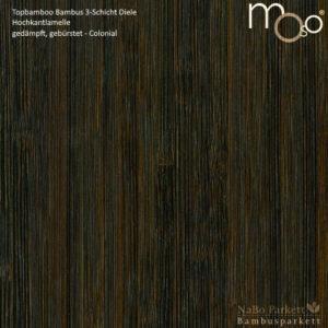 Bambus 3-Schicht Klick Fertigparkett Hochkantlamelle gedämpft – Moso topbamboo - gebürstet, colonial lackiert - NaBo Parkett Bambusboden Leipzig