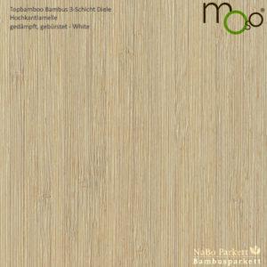 Bambus 3-Schicht Klick Fertigparkett Hochkantlamelle gedämpft – Moso topbamboo - gebürstet, white lackiert - NaBo Parkett Bambusboden Leipzig
