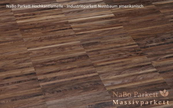Industrieparkett Nussbaum amerikanisch - Industrie - NaBo Parkett Hochkantlamelle Leipzig