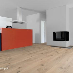 Schlossdiele Eiche Projekt weiß geölt - 3-Schicht Fertigparkett - NaBo Parkett Landhausdielen - Küche