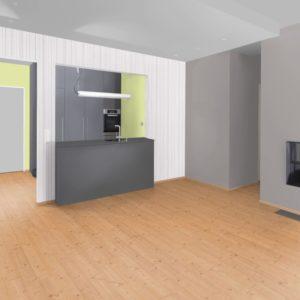 Douglasie Massivholzdielen Sortierung I/III nachsortiert - geschliffen, natur geölt - NaBo Parkett - Wohnbeispiel Küche