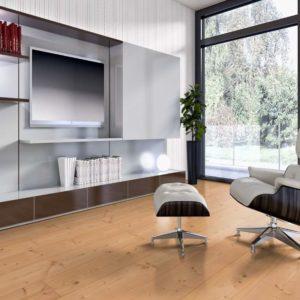 Douglasie Massivholzdielen Sortierung I/III nachsortiert - geschliffen, natur geölt - NaBo Parkett - Wohnbeispiel Wohnzimmer