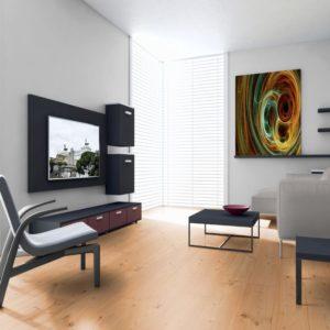 Douglasie Massivholzdielen Sortierung I/III nachsortiert - geschliffen, natur geölt - NaBo Parkett - Wohnbeispiel 2 Wohnzimmer