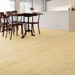 Fichte Massivholzdielen A-Sortierung - geschliffen, natur geölt - NaBo Parkett - Wohnbeispiel Küche