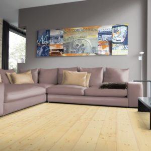 Fichte Massivholzdielen A-Sortierung - geschliffen, natur geölt - NaBo Parkett - Wohnbeispiel Wohnzimmer