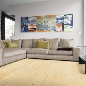 Fichte Massivholzdielen AB-Sortierung - geschliffen, natur geölt - NaBo Parkett - Wohnbeispiel Wohnzimmer